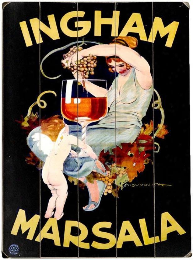 """ingham Marsala Wine Wooden Symbol - 20""""hx14""""w, Black"""