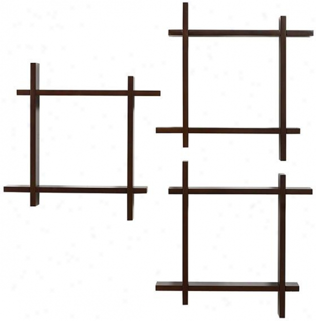 Interlocking Ledges - Set Of 3 - 42hx42w, Coffee Bean