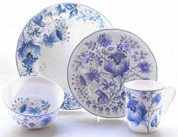 Ioniia 16-piece Dinnerware Set - 16 Piece Set, Blue