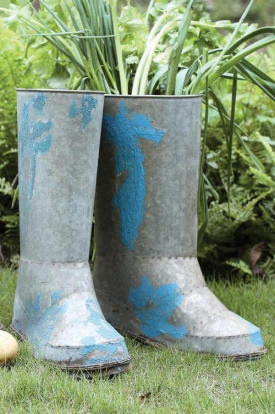 Iron Boot Planter - 11.5x4.5, Sulver