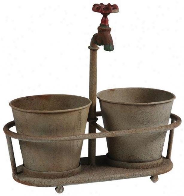 Iron Faucet Metal Planter - 13.75x7, Bronze