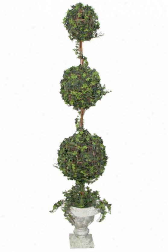 """ivy Multi-ball Topiary - Trpl 84"""" Resin, Resin Urn Base"""