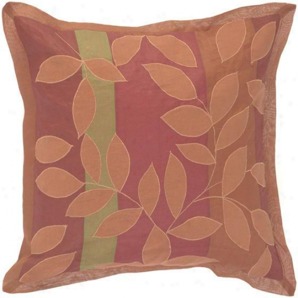 """ivy Patterned Pillows - Set Off 2 - 18""""x18"""", Burgundy/brick"""