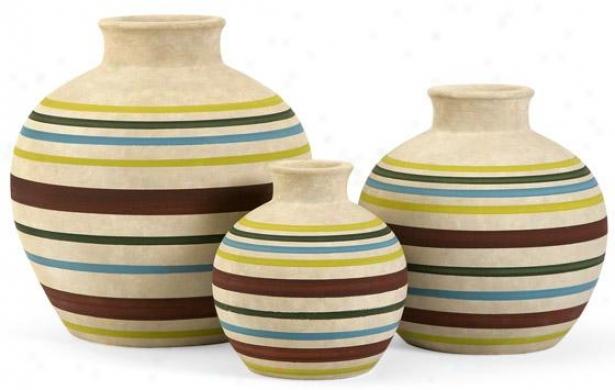 Jarreth Stripe Vase - Set Of 3 - Set Of 3, Multi
