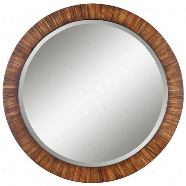 """jules Mirror - 36""""dia, Antique Zebrano"""