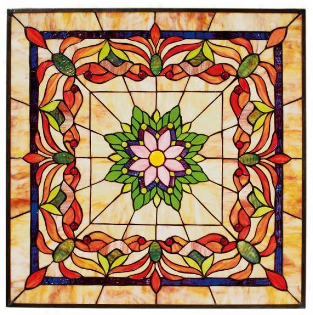 """kaleidoscope 24"""" Square Tiffany-style Art Glass - Adjusted, Multi"""