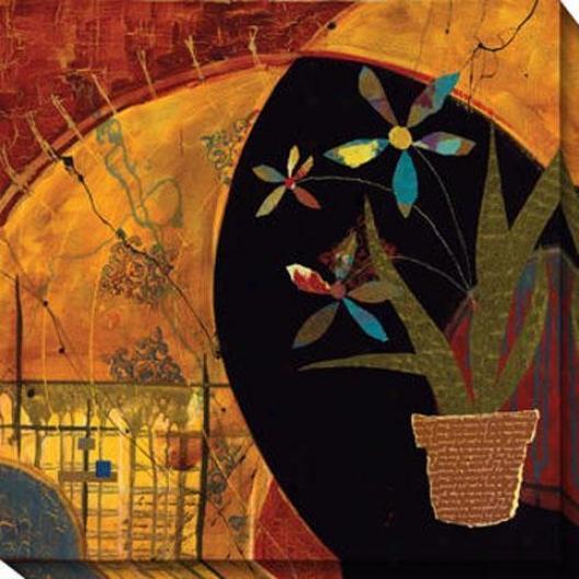 Kaleidoscope Flower Pot I Canvas Wall Art - I, Red