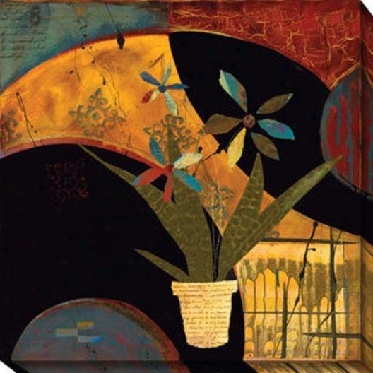 Kaleidoscope Flower Pot Ii Canvas Wall Art - Ii, Red