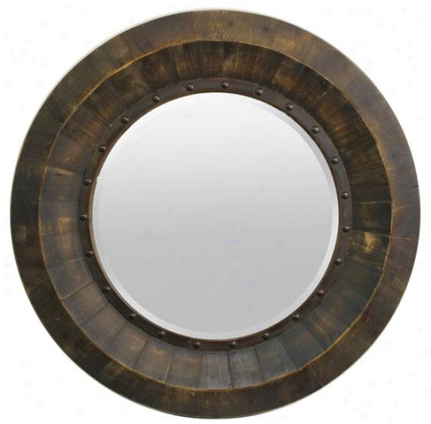 """kane Wall Mirror - 36""""round, Brown"""