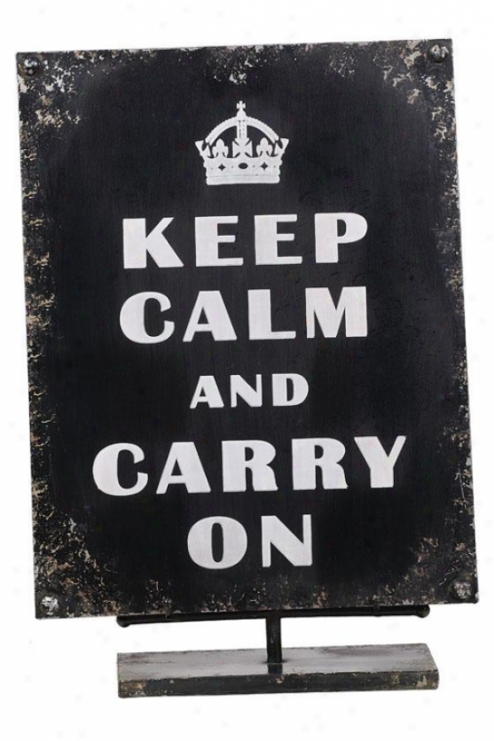 """""""keep Calm Sign With Easel - 18""""""""hx12""""""""wx4""""""""d, Black"""""""