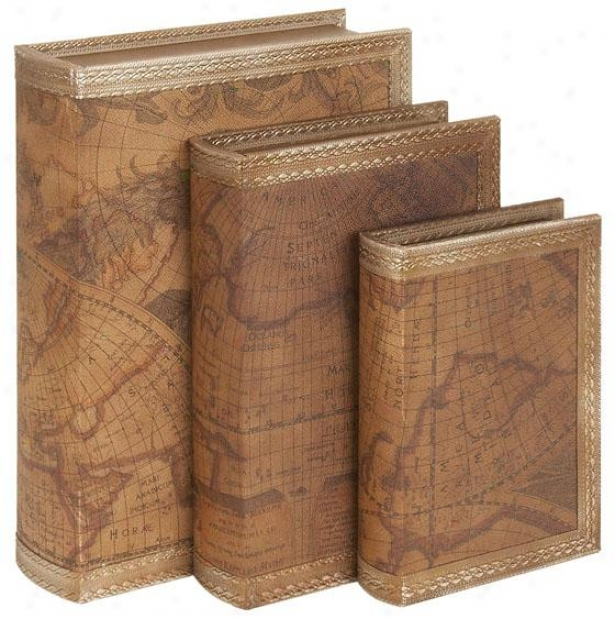 """kenneth Book Box - Set Of 3 - S/3 14"""",12"""",10"""", Brown"""