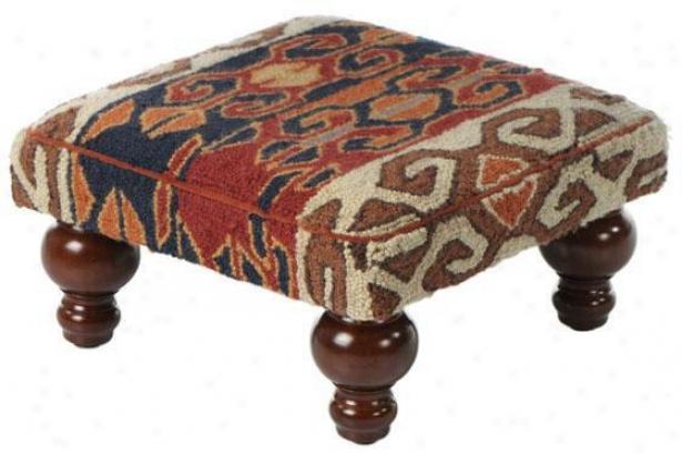 Kilim Hooked Pillow Or Footstool - Footstool, Navajo