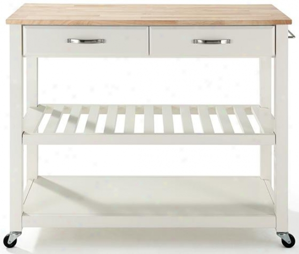 Kitchen Cart With Optional Stool Storage - Buttcher Block, Whit