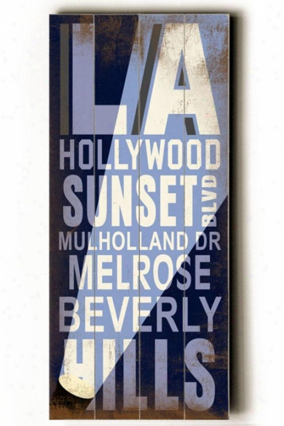 """la Hollywood Transit Sign Wall Plaque - 24h X 10""""w, Blue"""