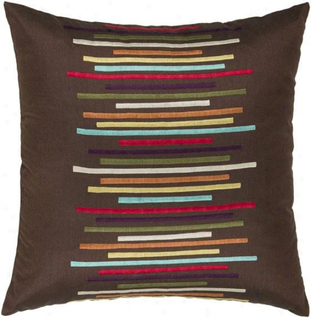 """la Linea Pillow - 18"""" Square, Brown"""