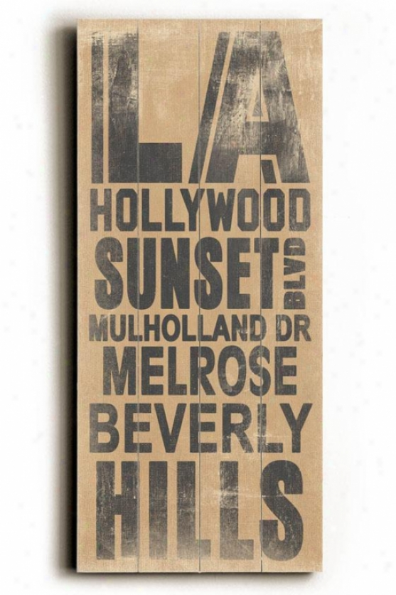 """la Transit Sign Wall Plaque - 24j X 10""""w, Beige"""