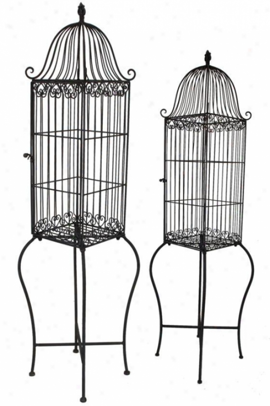 Laurel Birdcages - Set Of 2 - Set Of Two, Brown
