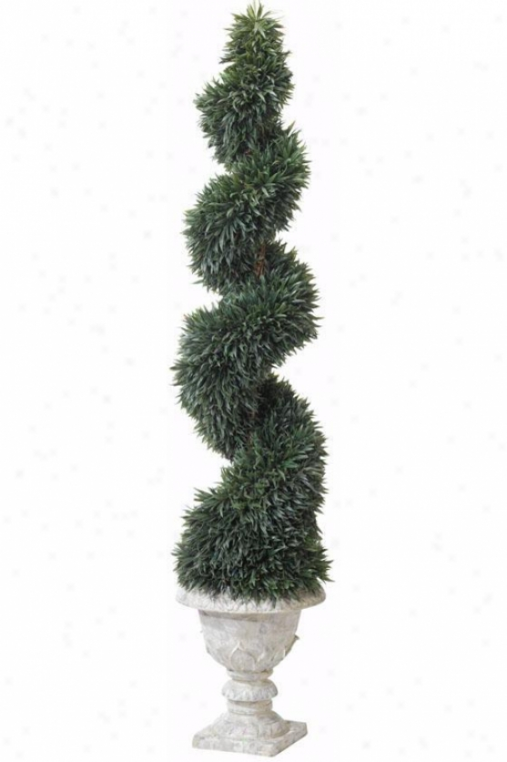 """lavender Spiral Topiary In Resin Urn - 72""""h, Resin Urn Base"""