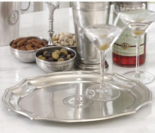 """le Grand Cafe Antique Pewter Scalloped Edge Tray - 12.25 X 10"", Gray"""