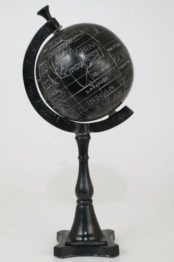 """""""le Monde Globe - 17""""""""hx6""""""""round, Black"""""""