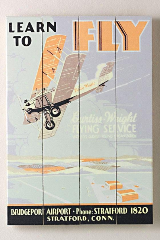 """learn To Fly Curtiss Flight School Wooden Cognizance - 20""""hx14""""w, Blue"""