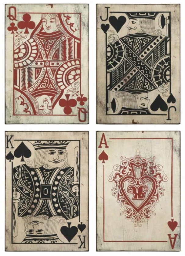 Leonato Playing Card Wall Decor - Set Of 4 - 18hx12.75w, Red/blk/white