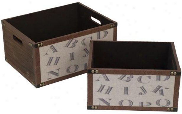Leter Boxes - Set Of 2 - Set Of Two, Brown