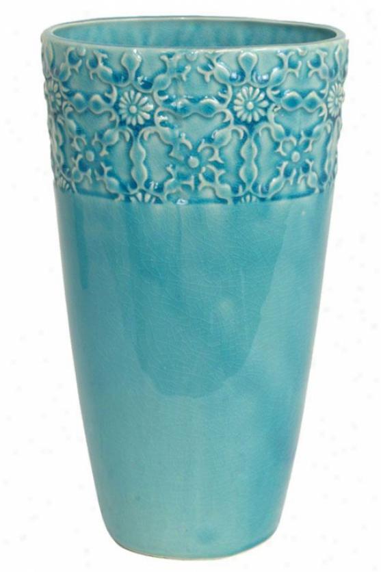 """lila Ceramic Vase - 12.5"""", Turquoise"""