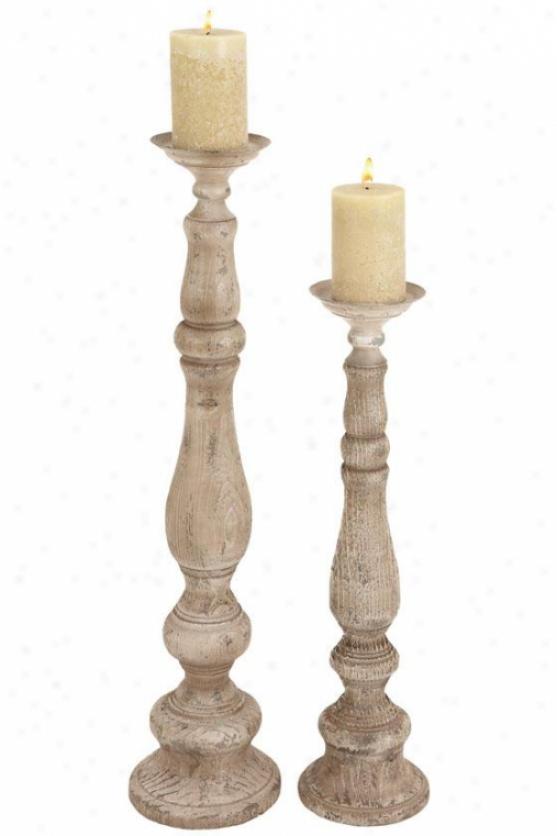 """""""lindell Candleholder - Set Off 2 - S/2 37""""""""h,29""""""""h, Craem Distresse"""""""