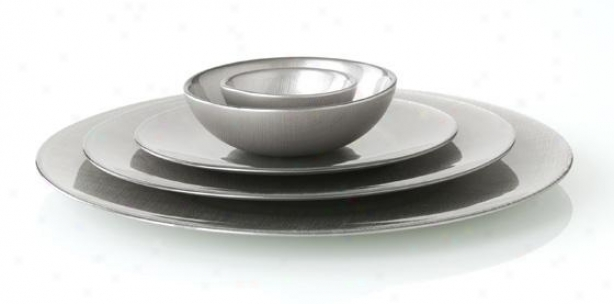 Lino Plates - Set Of 4 - Sald/dessert Plate, Silver