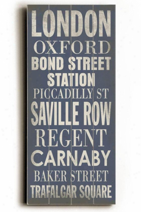 """london Tranit Sign Wall Plaque - 24h X 10""""w, Blue"""