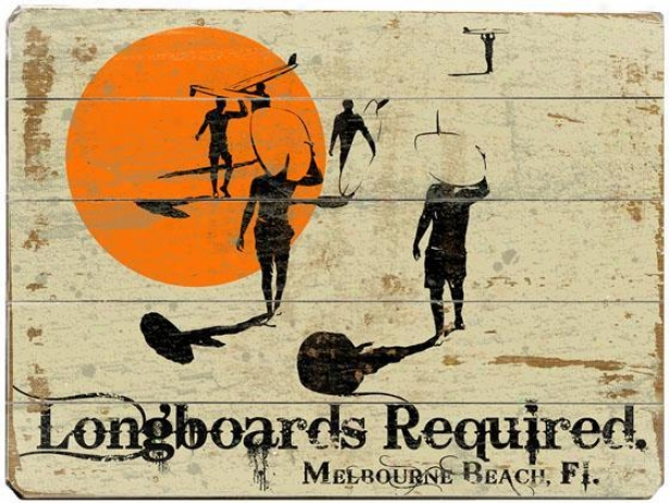 """longboards Required Wooden Sign - 20""""hx14""""w, Ivory/orange"""