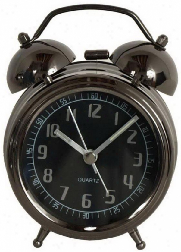 """lucas Black Metal Alarm Clock - 5hx3.25wx1.5""""d, Black"""