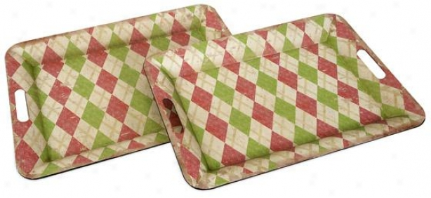 Lucille Metal Trays - eSt Of 2 - Set Of 2, Pink/green