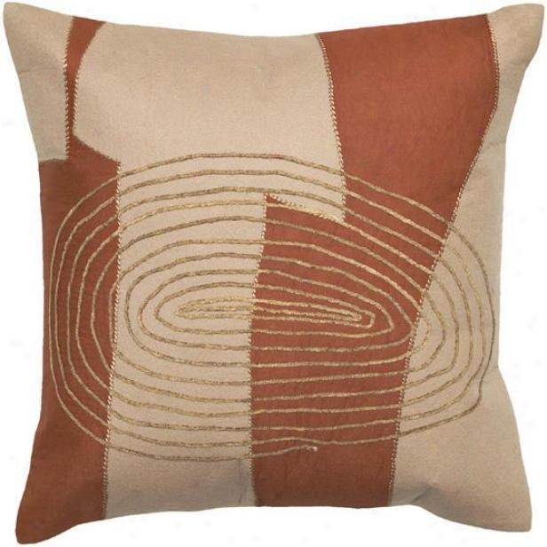 """luna Pillows - St Of 2 - 18""""x18"""", Tan/rust"""