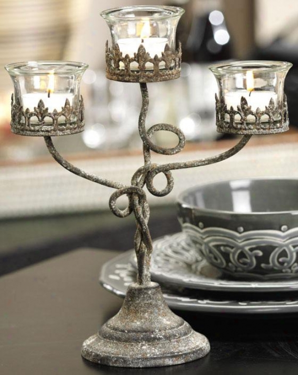 Lyon 3-tier Telight Holder - Tealight, Distress Metal