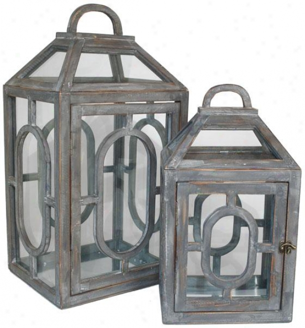Madison Lanterns - Set Of 2 - Set Of Two, Gray