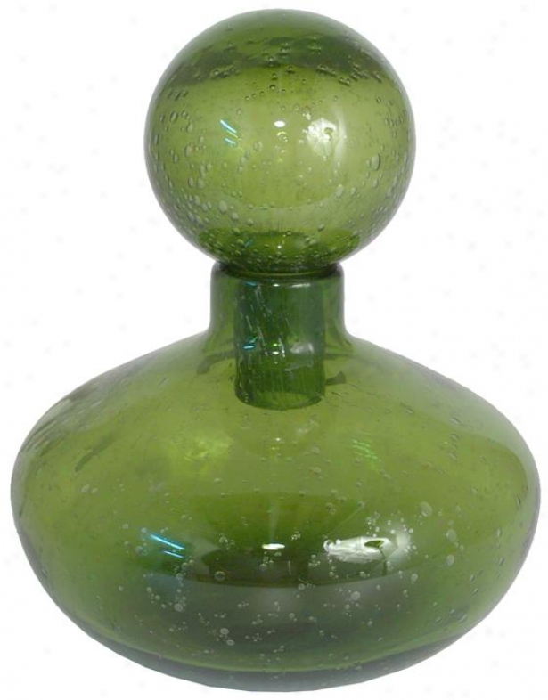 """maeve Covered Glass Bottle - Short: 10h X 8""""rd, Green"""