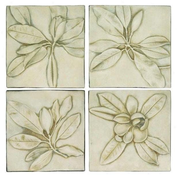 Magnolia Plaques - Set Of 4 - Set Of Four, Fossil/bone