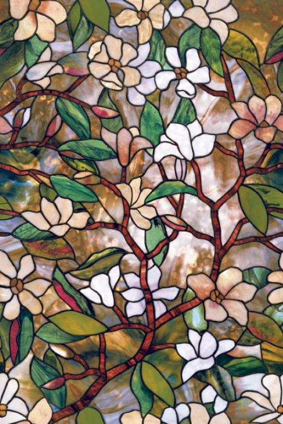 """""""magnolia Stained Glass Window Film - 36h X 24""""""""w, Flourishing"""""""