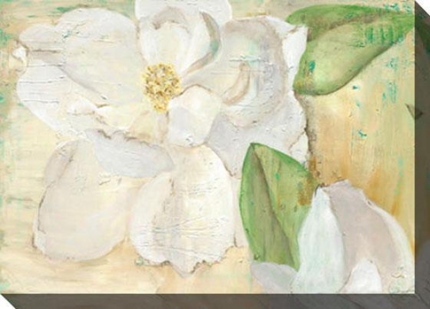 """magnolias On Yellow Canvas Wall Art - 48""""hx35""""w, White"""