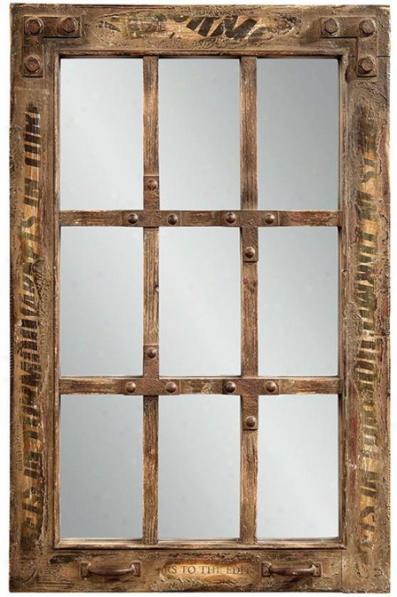 Manchester Window Wall Mirror - 37hx24w, Brown