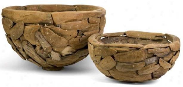 Mandrill Teakwood Puzzle Bowls - Regulate Of 2 - Set Of Pair, Sienna