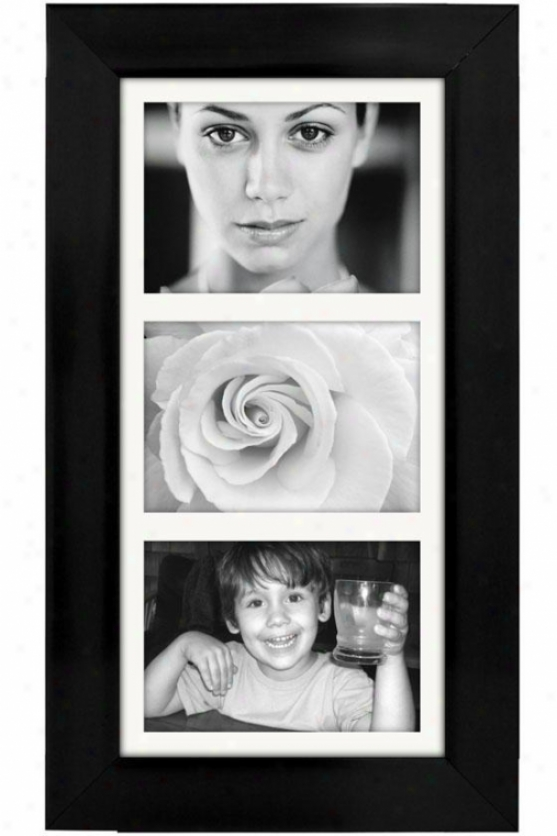 Manhattan 3-opening Vertical Collage Picture Frame - 11.5hx1wx20d, Black