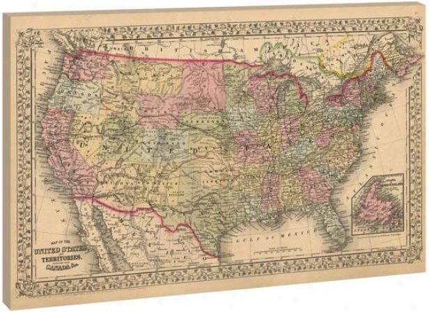 Map Of The United States Wall Art - 35hx53wx1.5d, Wheat