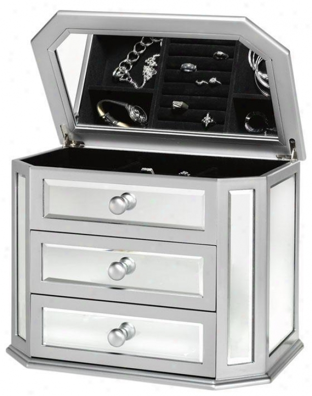 """""""marilyn Mirrored Jewelry Box - 15""""""""wx11.5""""""""h, Silver"""""""