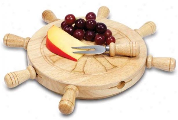 Mariner Cheese Tray Set - 13.5 Round X 2h, Nayural Wood
