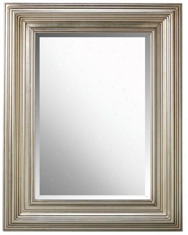 """""""mario Mirror - 41""""""""x31""""""""w, Silver Leaf"""""""