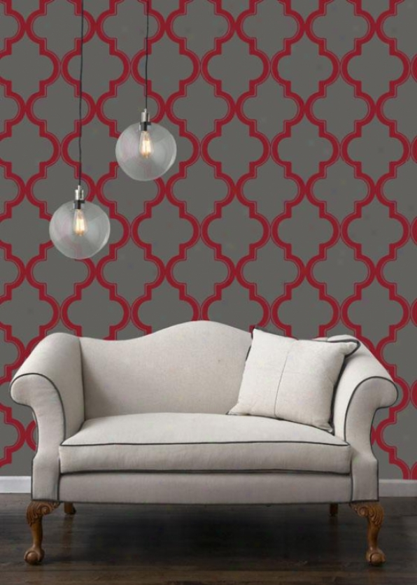 """marrakesh Tempaper Wallpaper Colkection - 11yda X 20.5""""w, Ruby Slate"""