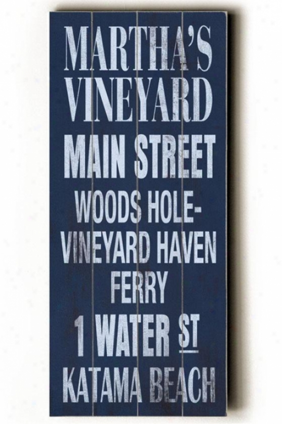 """martha's Vineyard Transit Sign Wall Plaque - 24h X 10""""w, Blue"""
